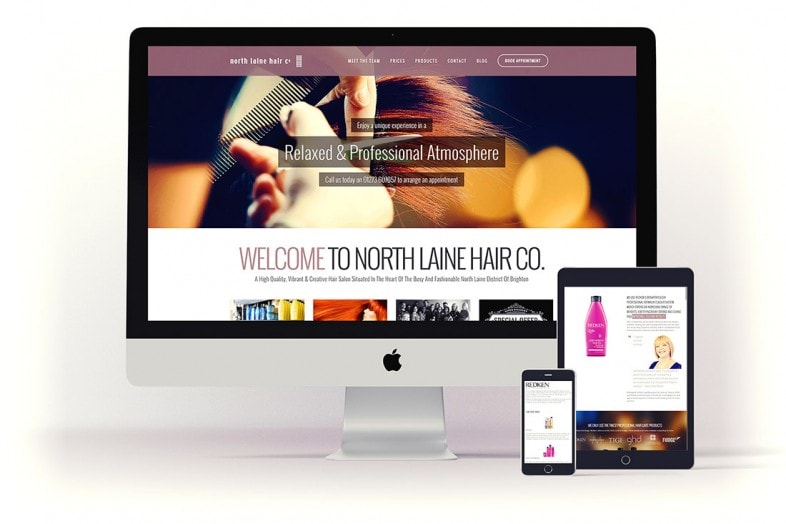 North Laine Hair content managed website design project